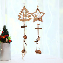Wooden Christmas Ornaments Wood Star Pendants Pine Cone New Year Xmas Tree Decoration for Home