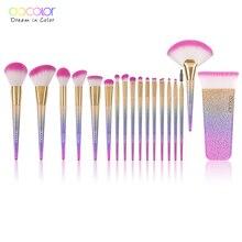 Docolor 18PCS פנטזיה מברשות אוסף יופי איפור מברשות למעלה סינטטי שיער קשת יד המתנה הטובה ביותר עבור נשים