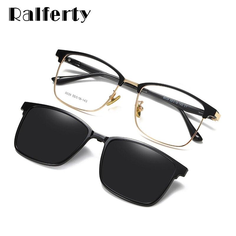 Ralferty, магнитные солнцезащитные очки для автомобиля, поляризованные солнцезащитные очки для женщин и мужчин, квадратные оправы для оптических линз, 0 градусов, Z8039