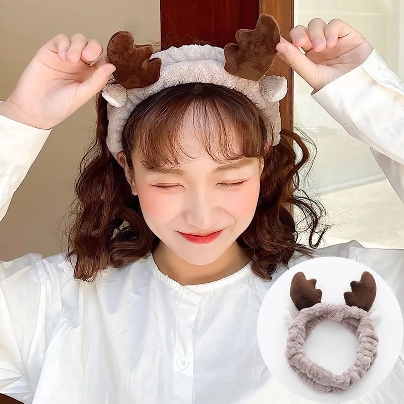 New Creativity Face Wash Hairband Antlers Cat Bunny Ears Headband Plush Toys Girls Hair Accessories