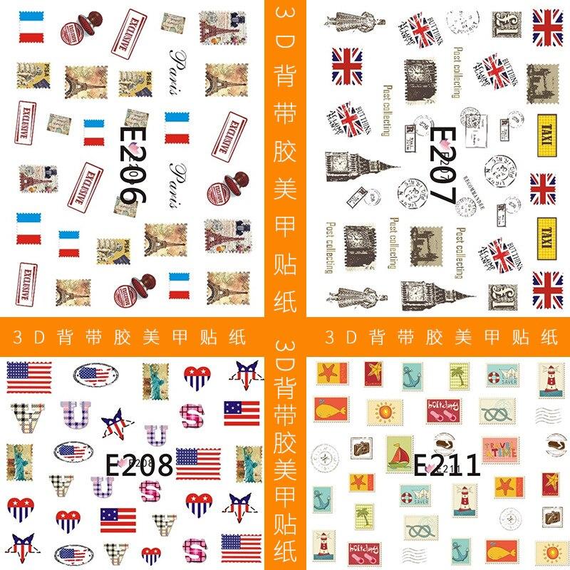 E160-225, серия 3D, на подтяжках, клей, наклейка для ногтей, Национальный флаг, наклейка для ногтей, бант, маникюр, цветок, наклейка s