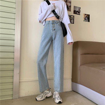 Spring And Summer Women's New Jeans 2020 Breasted High Waist Loose Wide Leg All-Match Slim Straight Pants Long full cotton 2019 wide leg women pants high waist loose straight lady jeans with pockets zippers and ripped design spring summer