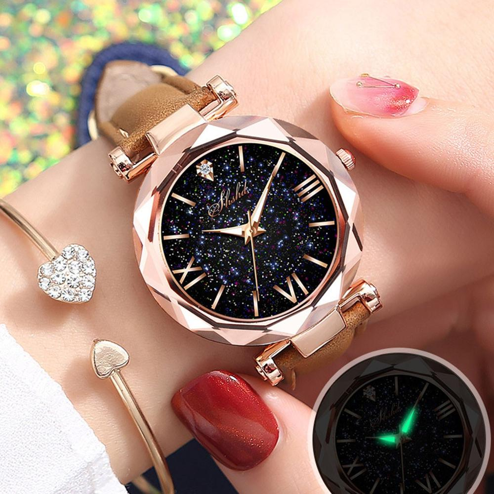 Luxury Women Watches Starry Sky Ladies Bracelet Watch Casual Leather Quartz Wristwatch Clock Gift Relogio Feminino Women Dress