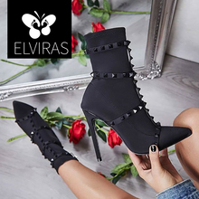 ELVIRAS 2019 Autumn Rivets Silk Sock Boots WomenHigh Heels Stiletto Ankle