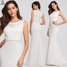 Skyyue Evening Dress White O-neck Women Party Dresse Sleeveless Elegant Robe De Soiree Embroidery Gowns 2019 C530