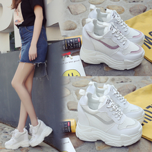 2019 new summer breathable mesh sneakers Korean fashion thick bottom increase
