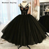 Puffy Black Lace Corset Prom Dresses 2019 Sexy Sheer Ankle Length Party Gowns with Straps Ball Gown Prom Gowns with Fishbone