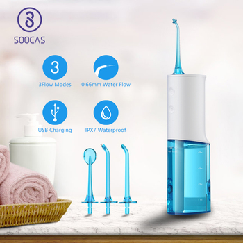 SOOCAS W3 Portable Dental Water Flosser Electric Oral Irrigator Rechargeable Waterproof Water Toothpick Cleaner 4 Cleaning Modes