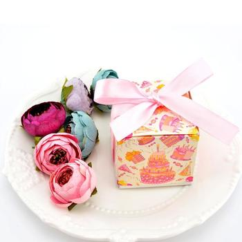 100pcs Sweet Lovely Decoration Candy Box Paper Boxes Gift Box Kraft Favor Box with Ribbon Wedding and Party Sac Papier Hanukkah