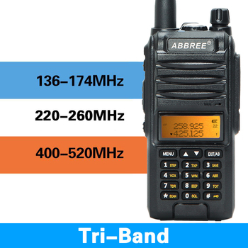 2020 abbree ar-f3 walkie talkie 8w uhf vhf 220-260mhz tri-band 2 antenns ham 10km long range two way radio for hunting hiking