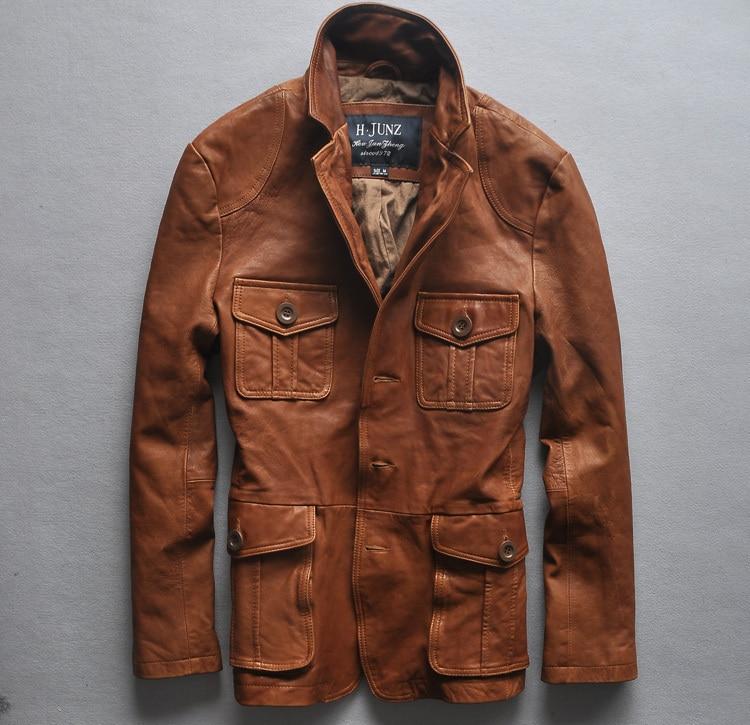 Slim Fit Italy Vintage Jacket Four Pockets Suit High Quality Leather Coat Men Brown M-XXL