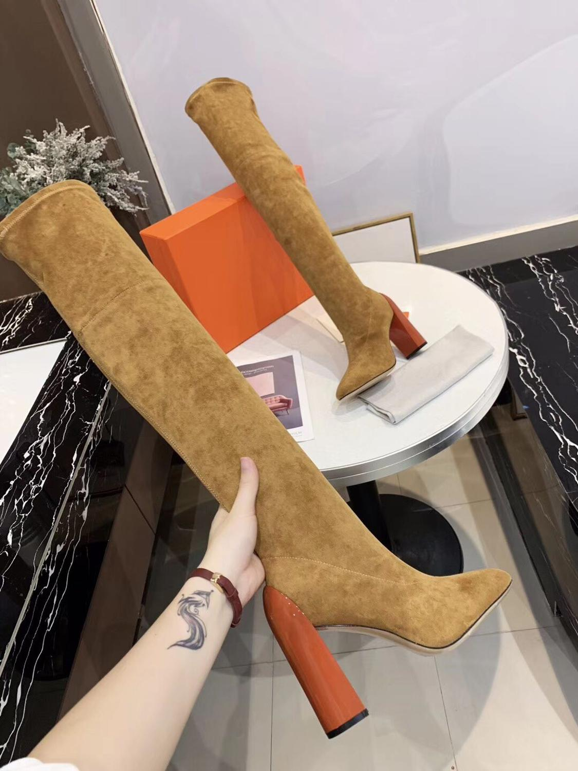 New Arrivals Hot Sale 2020 Flock Stretch Boots Sexy High Heel Woman Brand Over The Knee Boots