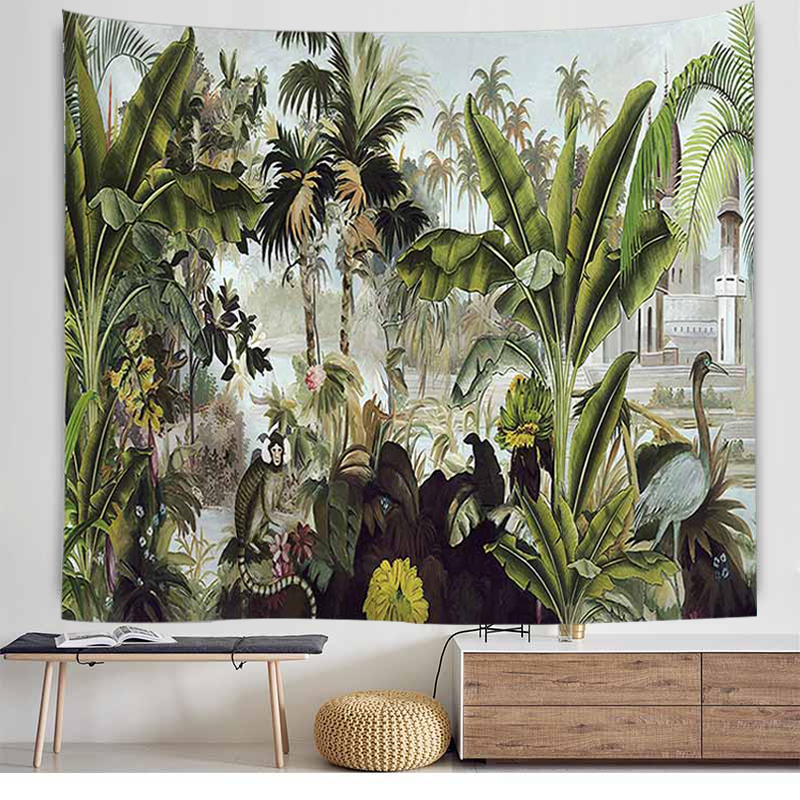 Natural Forest Banana Tree Tapestry Wall Hanging Landscape Wall Carpet Hippie Decor Wall Tapestry Scenery Wall Cloth Tapestries