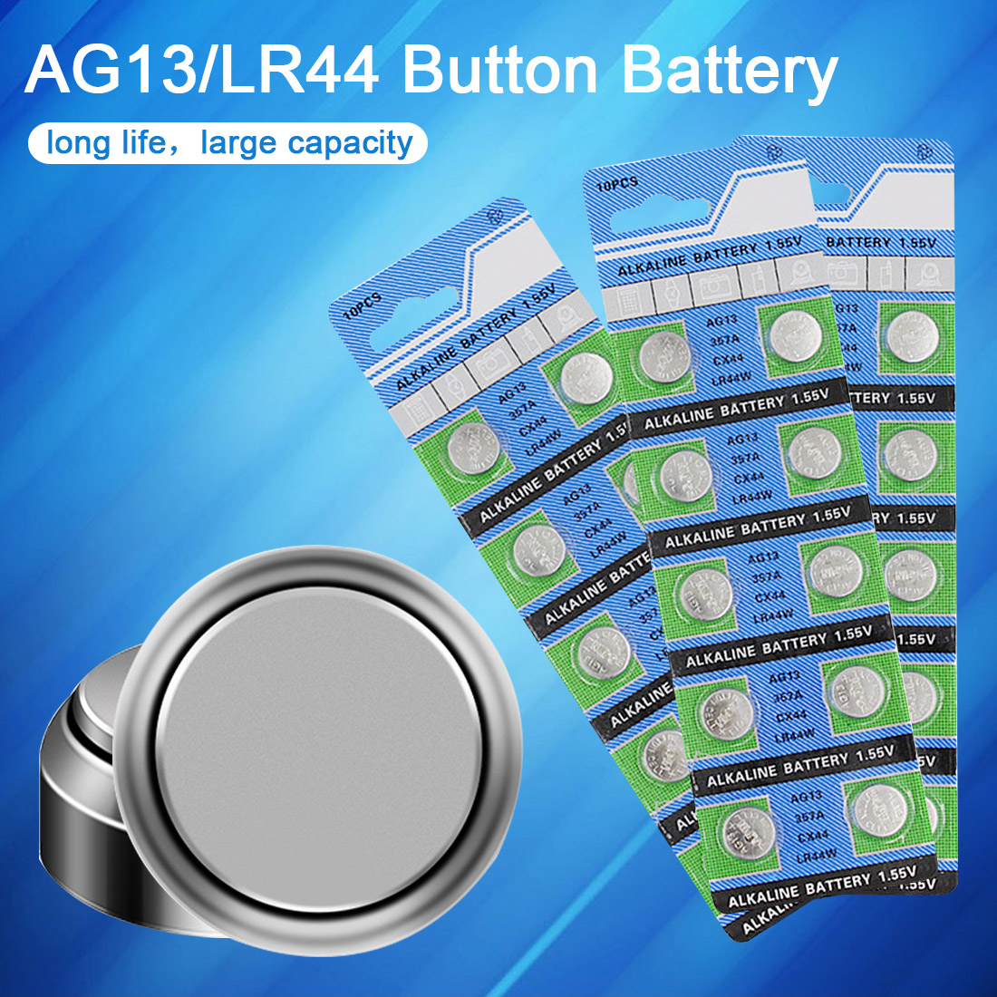 10PCS AG13 Watch Battery 1.55V 357A CX44 LR44W Coin Cell Alkaline Batteries for Toy Calculator Laser Pointer Clock Watch Cameras