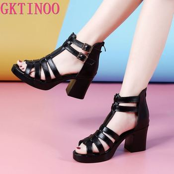 GKTINOO Women Sandals High Heels Genuine Leather 2020 New Summer Fashion Buckle Female Gladiator Sandals Platform Shoes Woman fedonas summer fur sandals women genuine leather sandals suede retro high heels square heel woman wedding party shoes woman