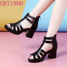 GKTINOO Women Sandals High Heels Genuine Leather 2020 New Summer Fashion Buckle