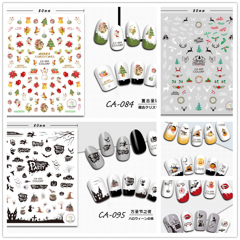Nail Ornament Gum 3D Sticker Halloween Pumpkin Ghost Monster Christmas Small Deer Nail Decals