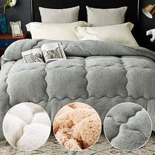 Новинка, простое однотонное зимнее стеганое одеяло, одностороннее, полиэстер, одностороннее, берберский флис, полиэстер, наполнитель, двойное, полное, королевское одеяло