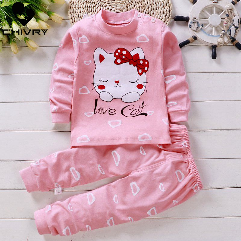 2020 Newborn Kids Boys Girls Pajama Sets Cartoon Long Sleeve Cute T-Shirt Tops with Pants Toddler Baby Autumn Sleeping Clothes image