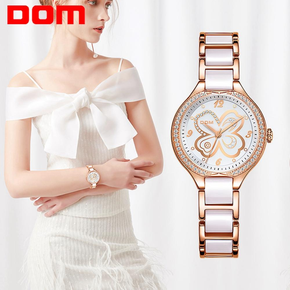 DOM Fashion Women Watches Ladies Top Brand Luxury Waterproof Gold Quartz Watch Women Ceramics Watchband Wrist Watch G-1271G-7MS