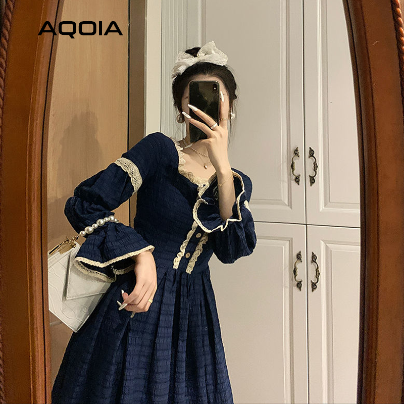 2021 Spring Lace Women Dress Lolita Style Sweeter Long Sleeve Square Collar Dresses Latern Sleever Cute Cosplay Ladies Dress-4