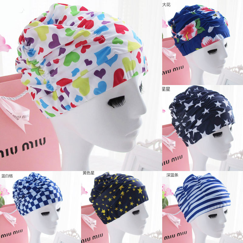Pleated Cap Large Size Plus-sized Long Hair Bubble Hot Spring Swimming Cap For Both Men And Women Not Squeeze Head