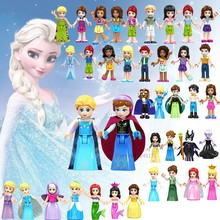 Princess Figures Elsa Anna Belle Mulan Cinderella Compatible for Friends For Girl Building Blocks Toys Children Gifts(China)