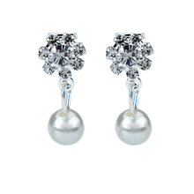 Non Pierced Flower Crystal Clip On Earrings For Women Fashion Jewelry Accessories Wedding Simulated Pearl Ear Cuff Earring(China)