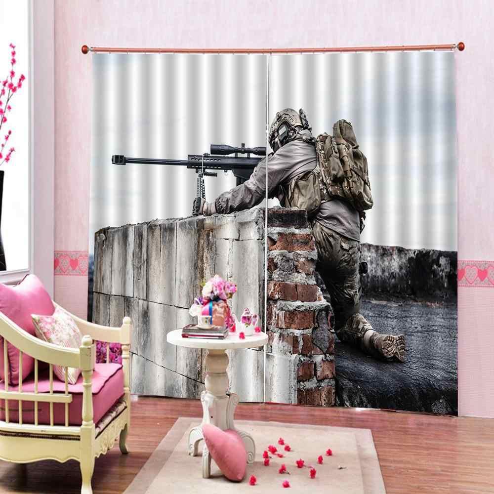 Personalizado cualquier tamaño guerra hogar Decoración ventana cortina bala pistola batalla Fury tema Blackout cortinas para sala de estar dormitorio