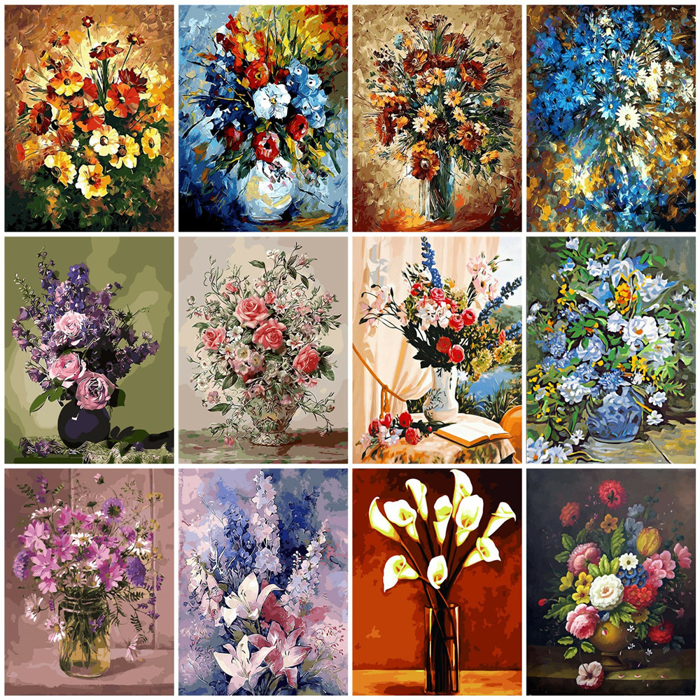 HUACAN Coloring By Numbers Flowers HandPainted Drawing Canvas Kits DIY Home Decoration Oil Painting Gift Pictures