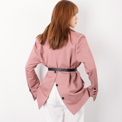 New Autumn Women Blue Office Lady Blazer Single Button Belt Long Sleeve Jackets Elegant Work Blazers Casaco Feminino LX217
