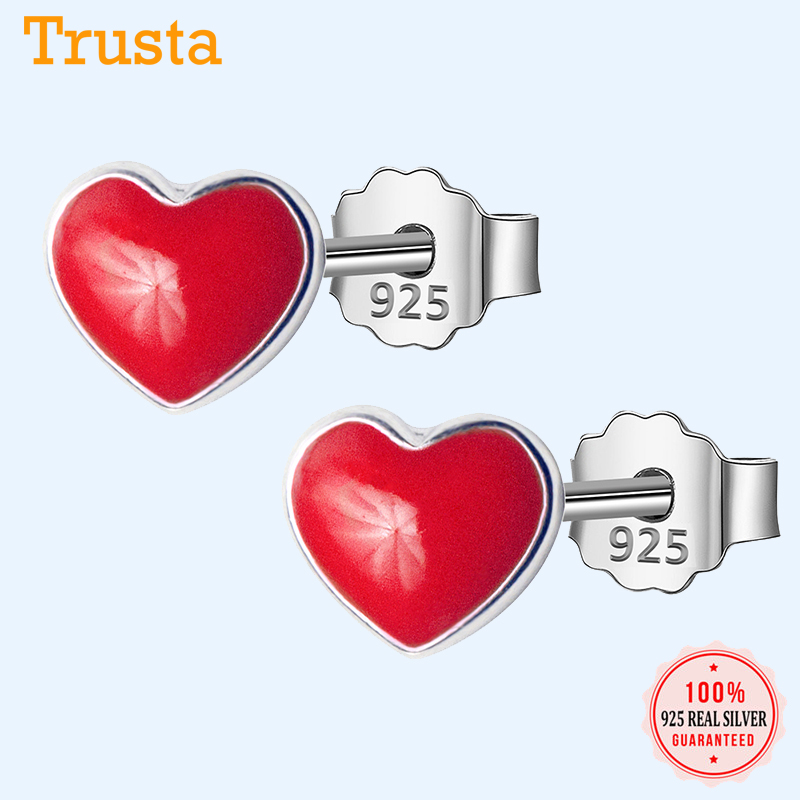 Trusta 100% 925 Sterling Silver Women Jewelry Tiny Red Love Footprints 5mmX6mm Stud Earrings For Daughter Girls Teens Lady DS122
