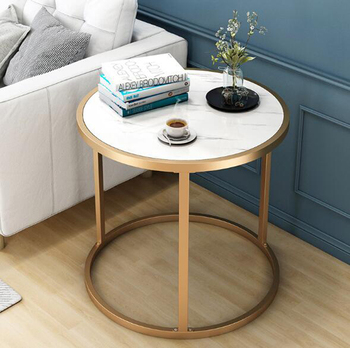 Nordic simple modern small round table side corner table marble texture bedside table MDF iron frame table 60cm*43cm