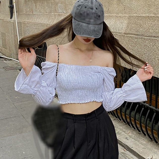 Women Blouses Striped Square Collar Shirts Pleated Slimming Lantern Long Sleeve Camiseta Top One Size Vetements Femmes 5