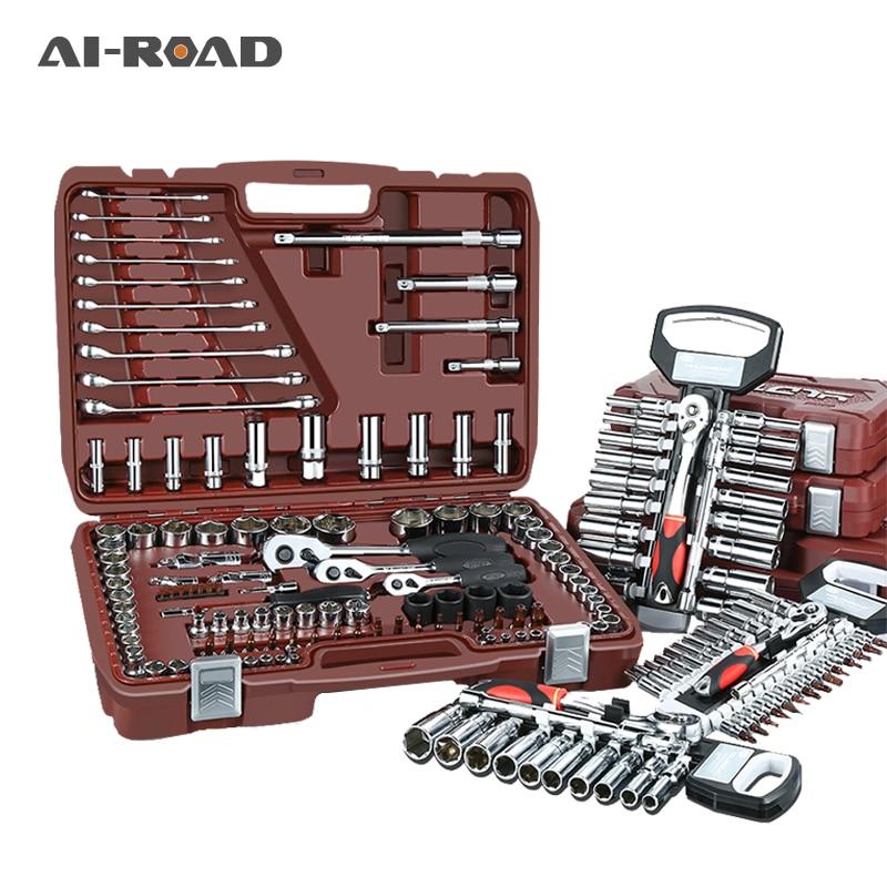 53pcs/set Carbon Steel Combination Set Wrench Socket Spanner Screwdriver Household Motorcycle Car Repair Tool Hardware Set Kits