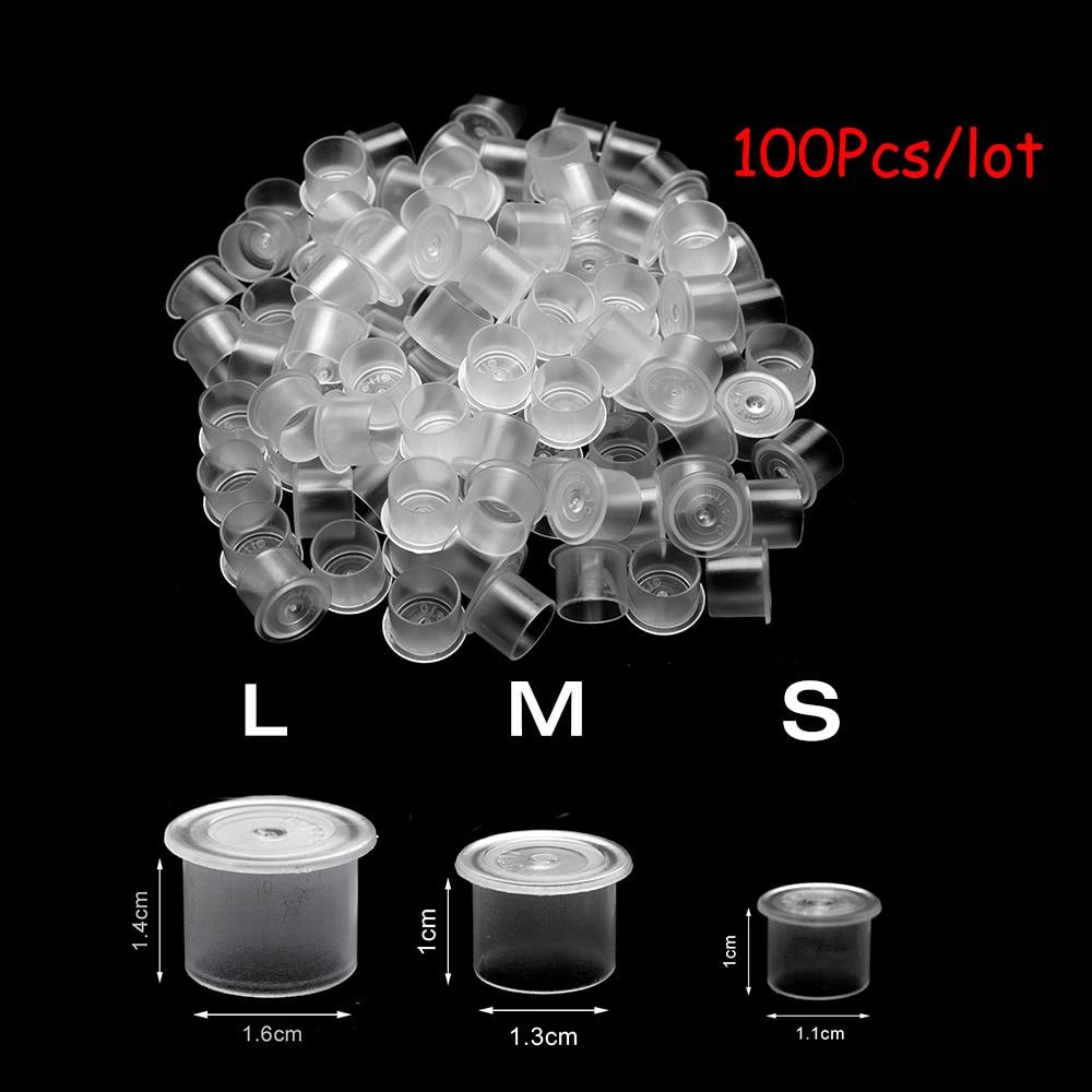 100Pcs Tattoo Ink Cups Plastic Microblading Tatuagem Acessorios Pigment  Caps With Bottom S/M/L For Needle Tip Grip Power Supply