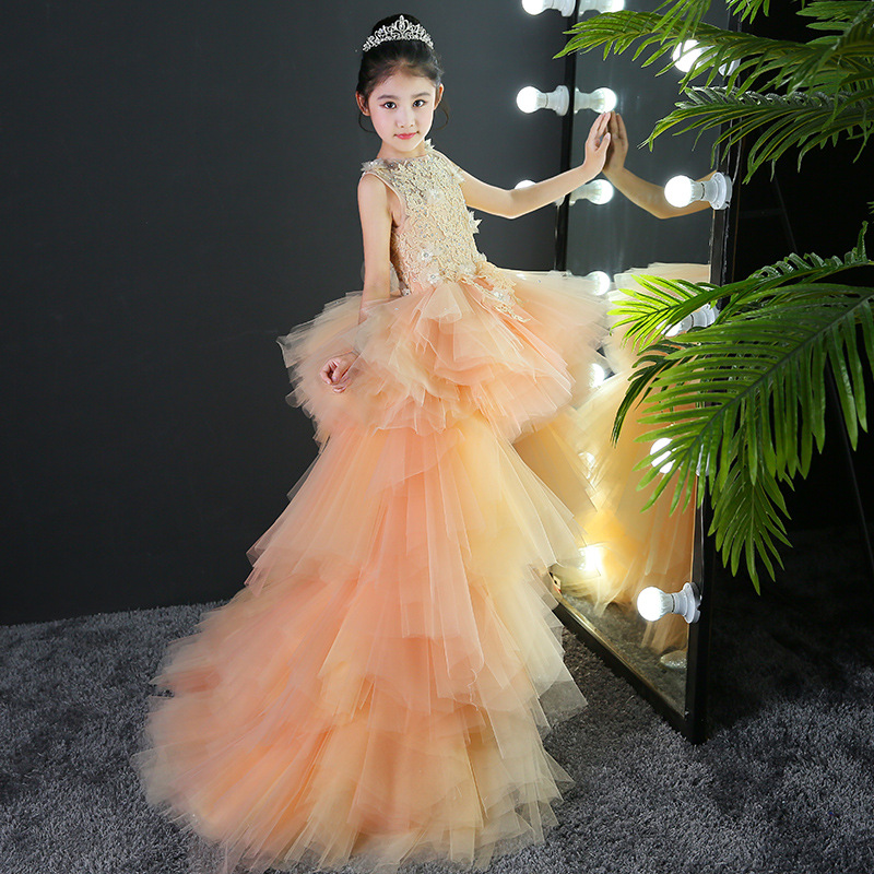 Flower Boys/Flower Girls Evening Gown Girls Princess Dress Children Trailing Wedding Dress Puffy Host Catwalks Birthday Piano Co
