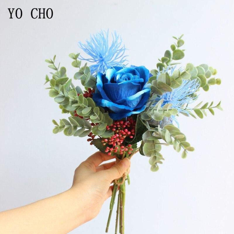 Йо Чо Королевский синий букет роз цветок невесты Свадебный искусственный цветок лесной стиль Гортензия помпон фруктовый уникальный