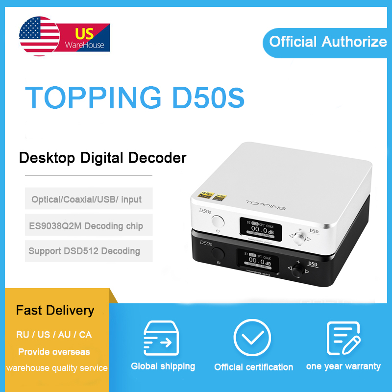 dac topping d50 dac usb optical coaxial MINI HIFI AUDIO Decoding ES9038Q2M OPA1612 XMOS XU208 DSD512
