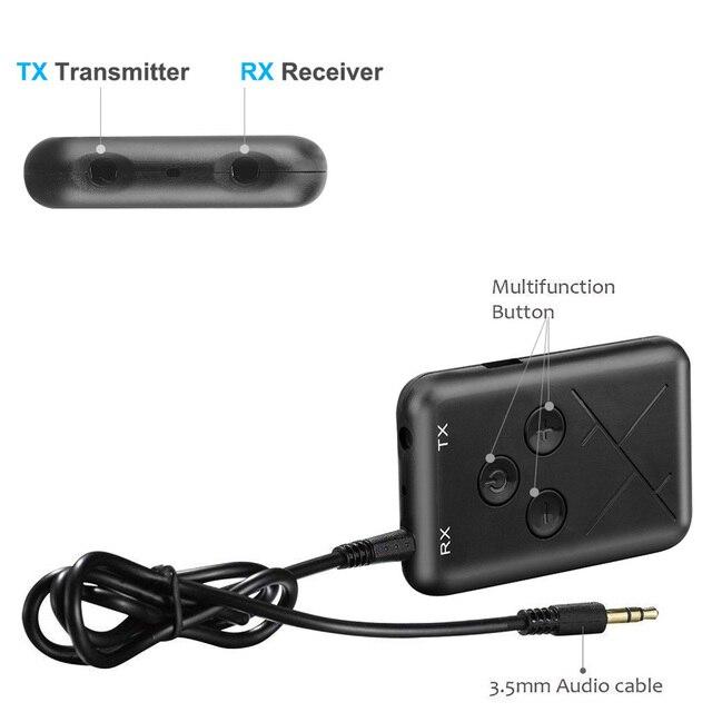 2 in 1 Audio Senza Fili di Bluetooth 4.2 Trasmettitore Ricevitore 3.5mm Stereo Audio Adapter per TV Auto Altoparlante di Musica