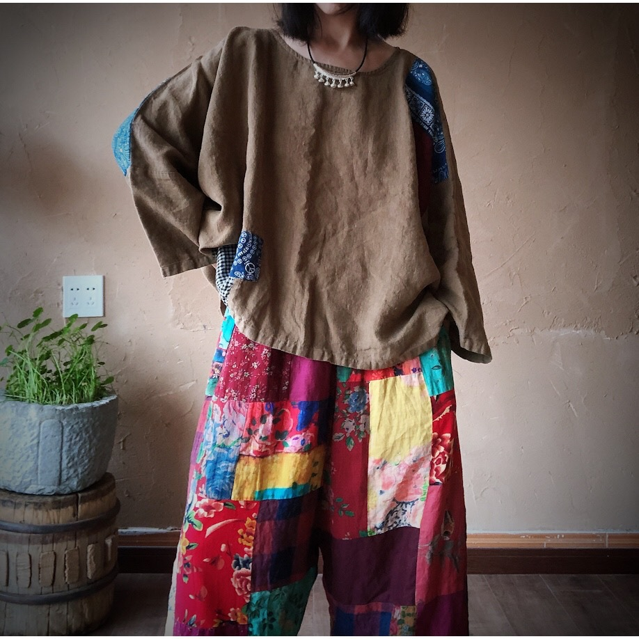 Women Linen  Patchwork Plus Size Blouse Tops Ladies Vintage Flax Spliced Oversize Shirts Female 2020 Summer Autumn Blouses 6