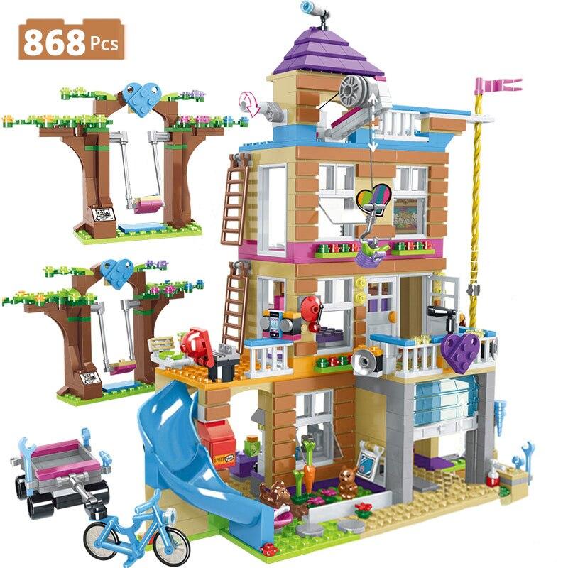 868 шт., совместимые строительные блоки для друзей, для девочек, Дом дружбы, городской автомобиль, укладка кирпича, игрушки для девочек, детей|Блочные конструкторы|   | АлиЭкспресс