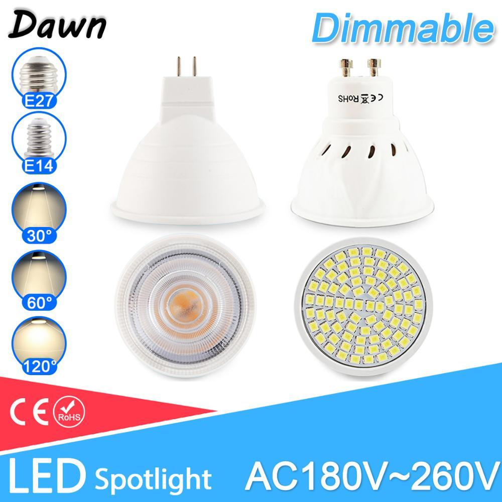 Pode ser escurecido lâmpada led mr16 e27 gu10 e14 mr11 led spotlight 6w 7 8 220v ac12v ponto conduziu a lâmpada lampada bombillas branco quente frio