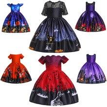 Новинка года; одежда в европейском и американском стиле на Хеллоуин с принтом в виде героев мультфильмов; детское торжественное платье