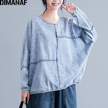 DIMANAF Plus Size Women Sweatshirts Denim Vintage Female Tops Shirts Winter Batwing Sleeve Big Loose Casual Clothing 2019