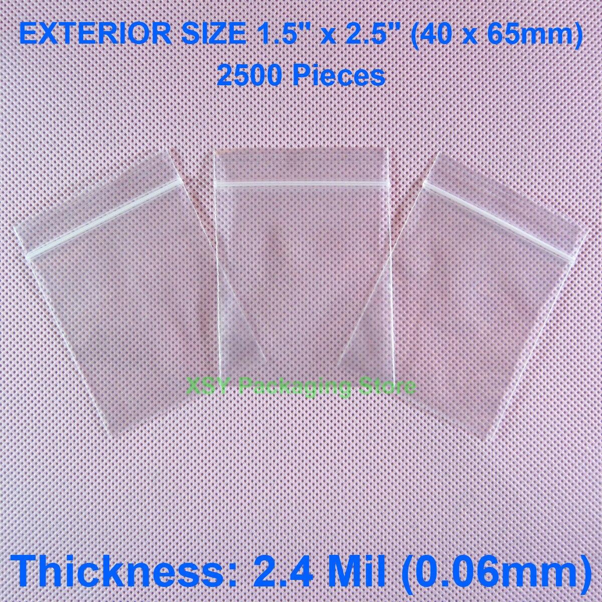 """2500 штук 2,4 мил Ziplock Сумки внешний Размер 1,5 """"x 2,5"""" (40x65 мм) пластик на молнии с возможностью повторного закрывания поли сцепление герметичная"""
