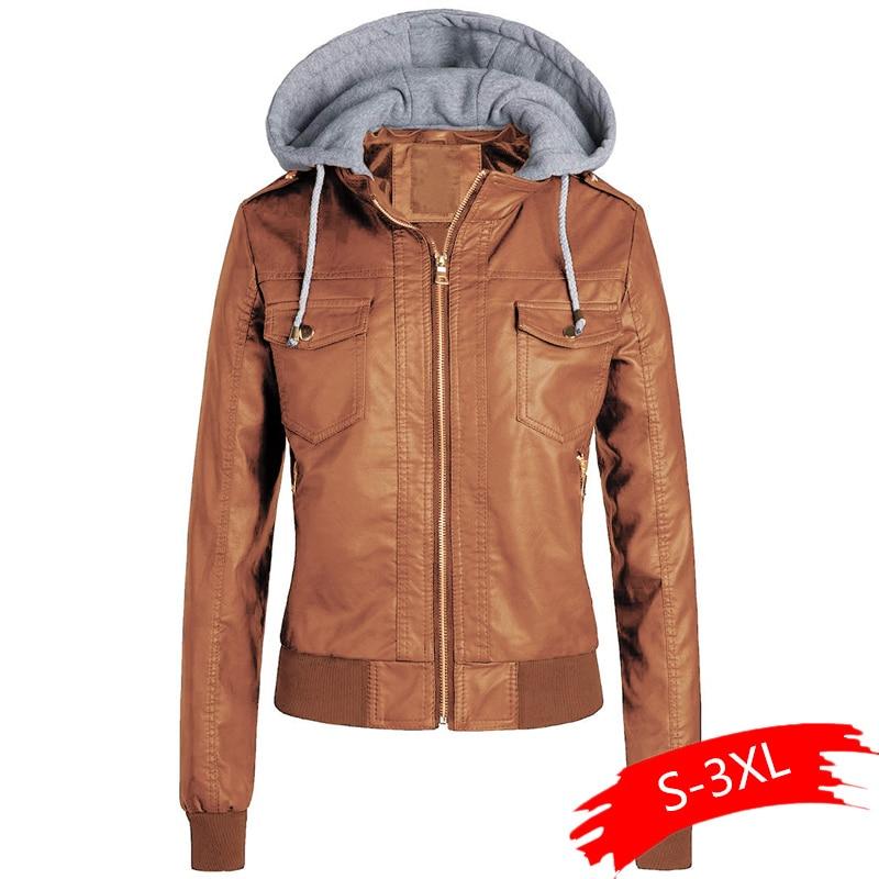 Motorcycle Fleece   Jackets   2019 Faux Leather Hooded   Jacket   Women Winter Faux Leather PU   Basic     Jacket   Coat Plus Size Outerwear