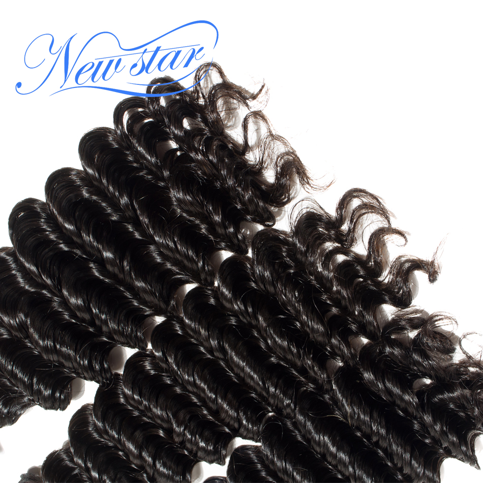 New Star Deep Wave Brazilian Virgin Human Hair 3 Bundles Deal Hair Extension Cuticle Aligned Unprocessed Thick Hair Waving