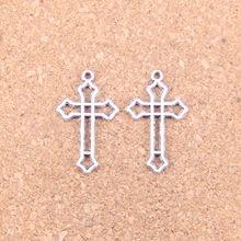 32pcs Charms hollow cross 25x15mm Antique Pendants,Vintage Tibetan Silver Jewelry,DIY for bracelet necklace