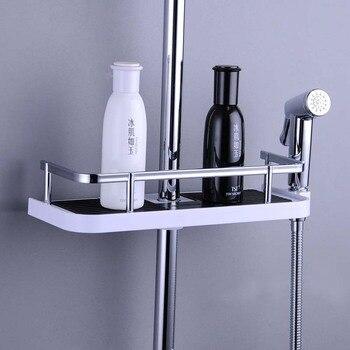 Práctico soporte de estante de ducha para baño, soporte de bandeja organizadora, cesta de lavado, ducha, champú, almacenamiento de baño